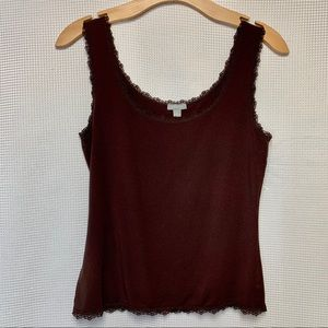 Ann Taylor Tank Top With Lace Edging